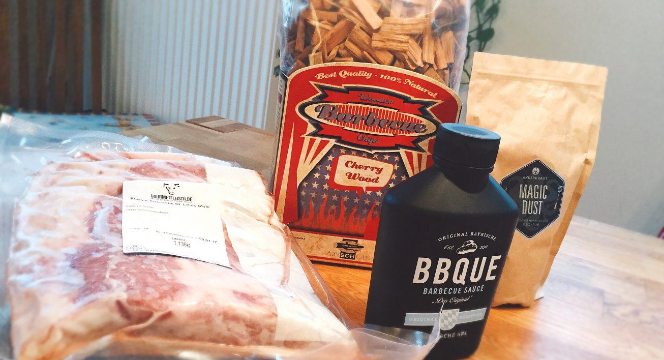 Equipment für 3-2-1 Ribs: Fleisch, Rub, BBQ-Sauce und Wood Chips